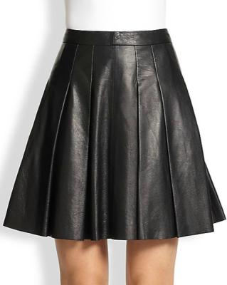 A-line black faux leather skirt by 10 Crosby Derek Lam.