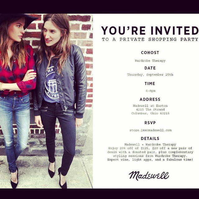 Join us Thursday, Sept 25th for our denim styling event with Madewell at Easton!! ??