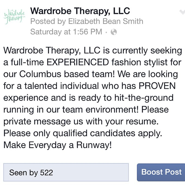 We're currently seeking a full-time EXPERIENCED fashion stylist for our Columbus team!! Please email us with your resume at wardrobe@wtherapy.com!