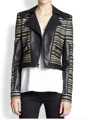 BCBGMAXAZRIA mixed-media moto jacket can be found on Shopbop.