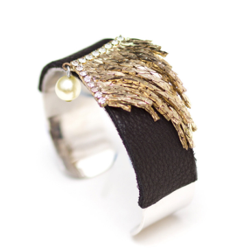 Black Fringe Cuff by Honey Rose & K.