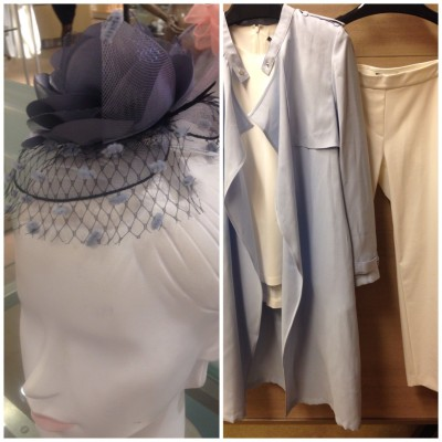 A lavender topper makes this crisp white-on-white ensemble oh-so-chic!! The fascinator feels modern yet sophisticated.