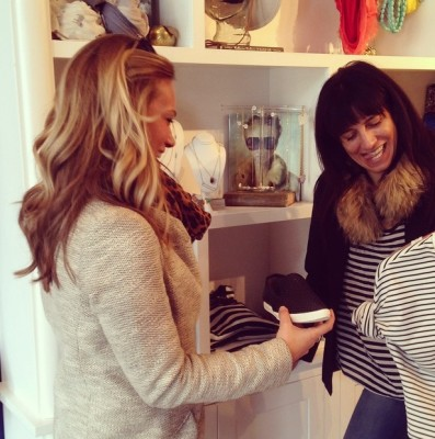 Stylist, Ali Clark, doing wardrobe pulls at Ladybird in the Short North.