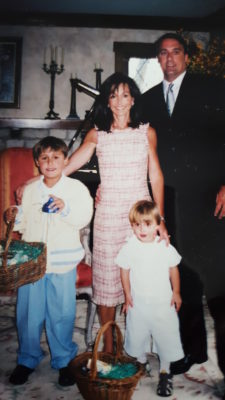 Connie with her husband, Mike, and sons Andrew and Michael in the mid-2000s