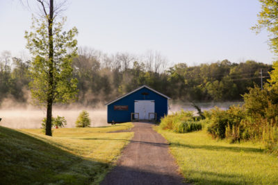 The Boat House and pond, where campers catch fish and paddle canoes.