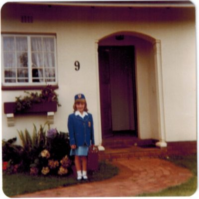 Michelle's first day of school in South Africa, where she spent her early years.