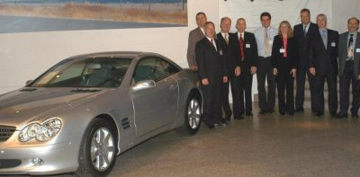"""This was pretty much my uniform for years,"" says Michelle, shown here in 2003 hosting clients at the Mercedes museum in Germany."