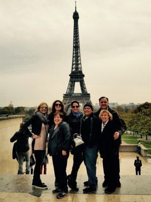 Michelle, far left, in Paris.