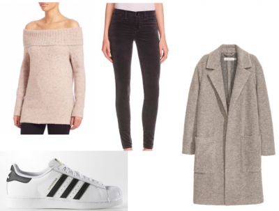 Sweater: Rebecca Minkoff, $178, Saks. Pants: Grey velvet jeans, JBrand $99 at Bloomingdales. Shoes: $80, Adidas. Topper Coat: $79, H&M
